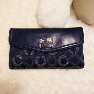 Authentic coach continental wallet with check slot